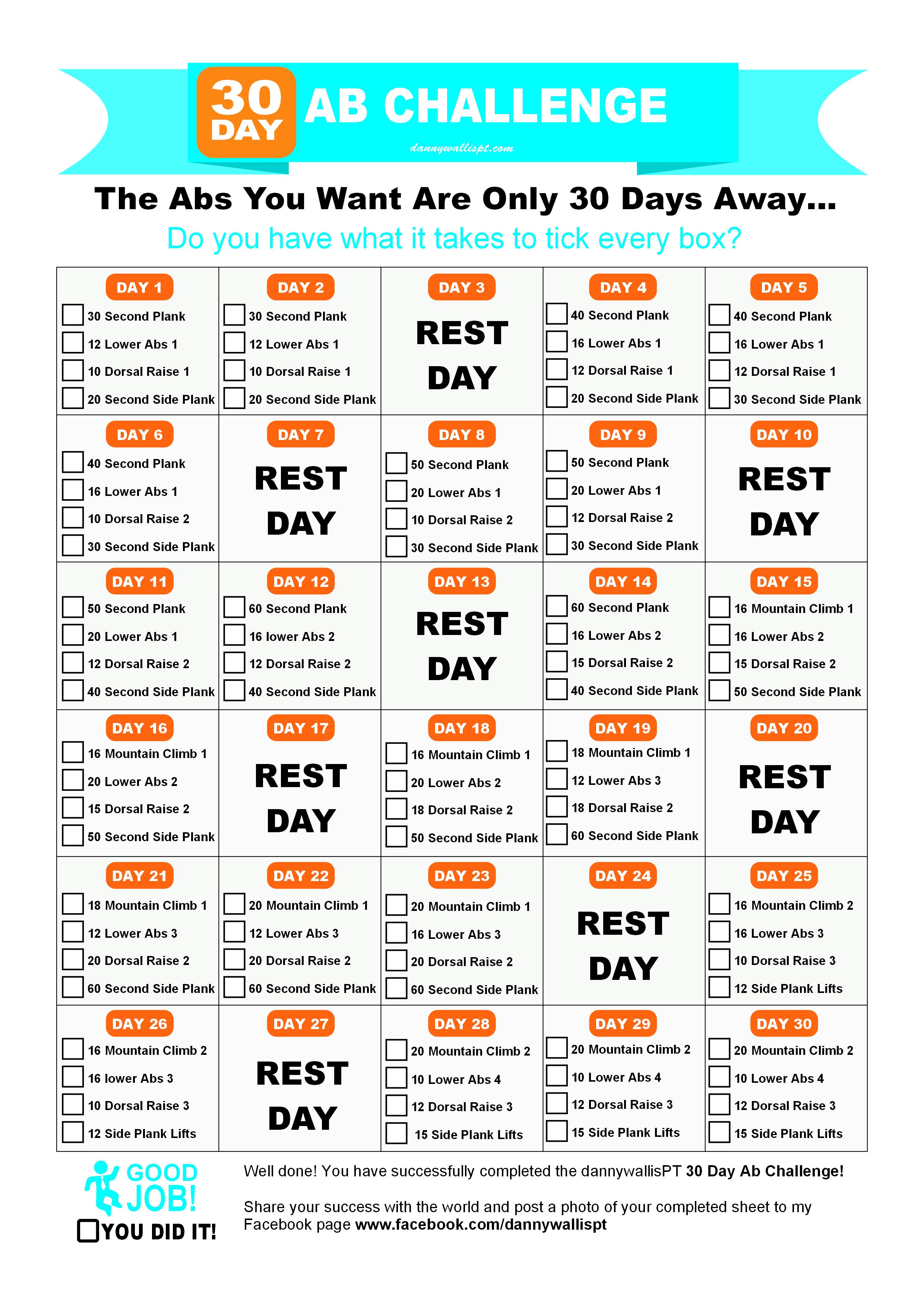 30 Day Abdominal Challenge Worksheet
